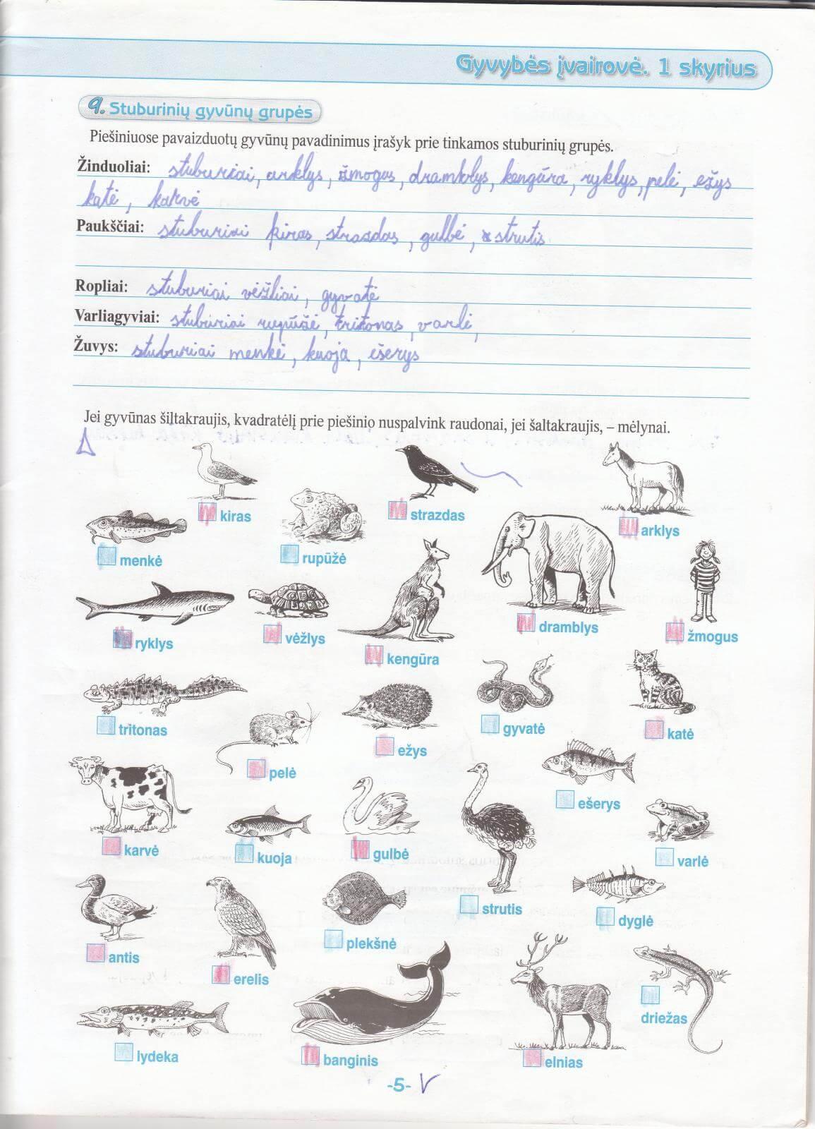 Biologija 5 klasei 1 dalis 5 puslapis
