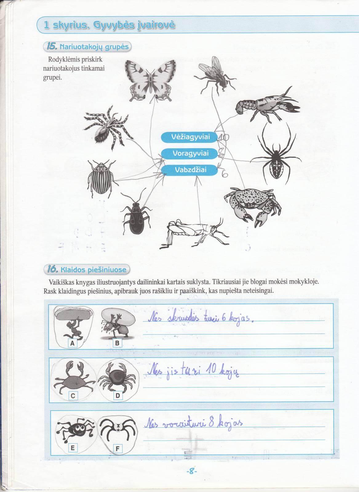 Biologija 5 klasei 1 dalis 8 puslapis